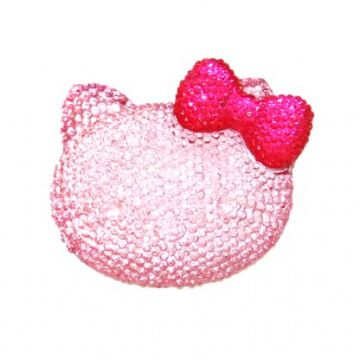 1piece x 54mm*44mm*10mm Diamond acrylic flat back baby pink colour bonjour kitty head with hot pink bow -- DAFB-BK04